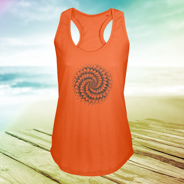 Ladies Racer Back Vest with Succulent Spiral Art