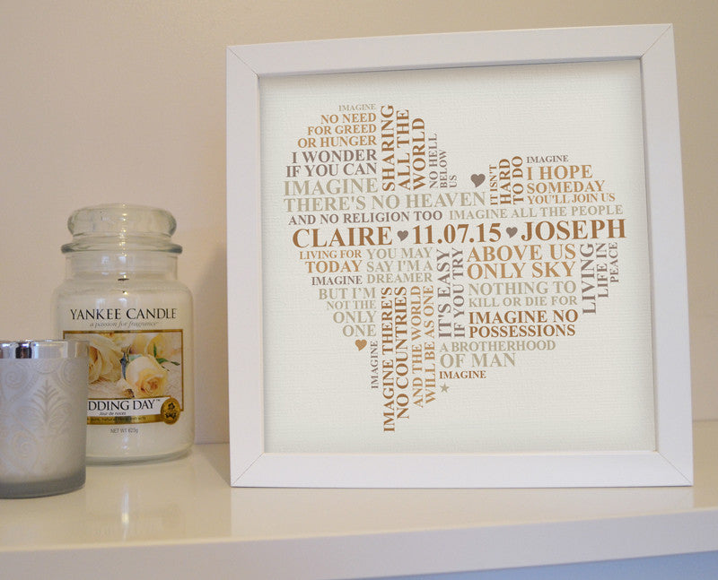 Framed song lyrics (or wedding vows) word art – Ali Chappell-Bates Art