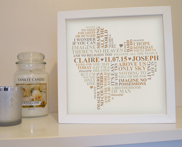 Framed song lyrics (or wedding vows) word art