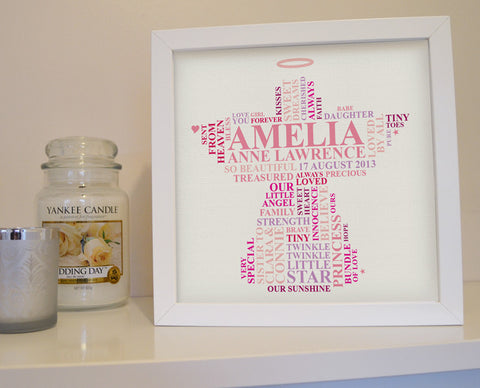 Framed angel gift for loss of baby girl.