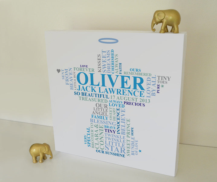 Memorial canvas gift for baby boy.