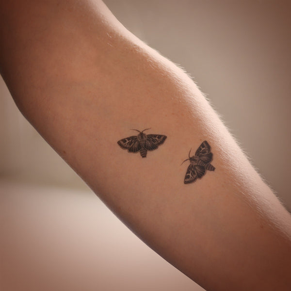 Antler Moths mini temporary tattoo set