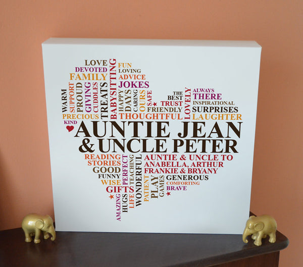 Auntie & Uncle canvas gift.