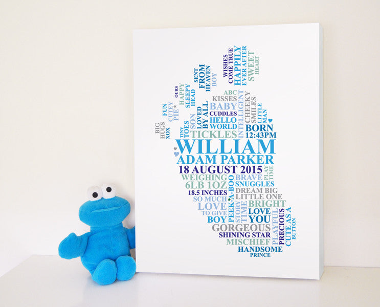Baby boy footprint canvas.