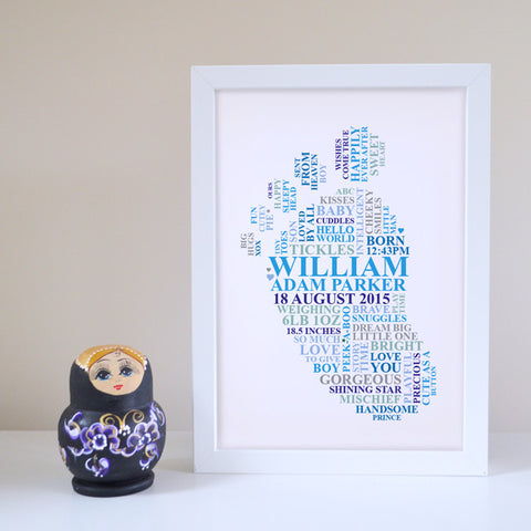 Personalised Baby boy footprint frame.