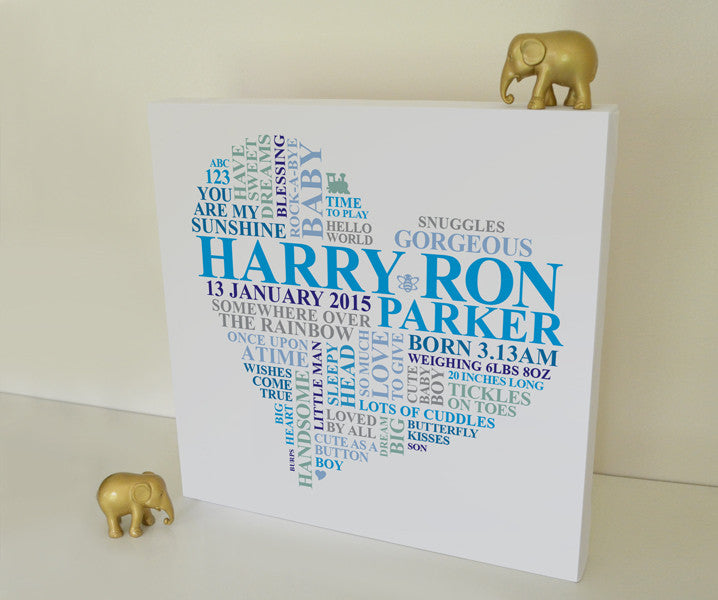 Canvas heart gift for baby boy.
