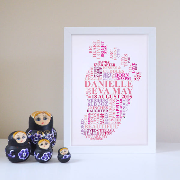 Framed footprint gift for baby girl.