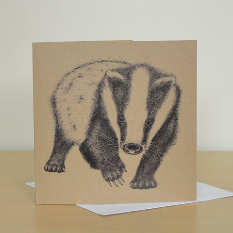Badger recycled greetings card. Blank inside.