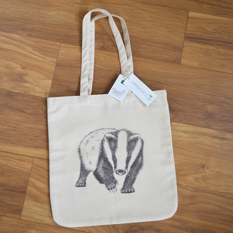 Organic Badger design tote bag.
