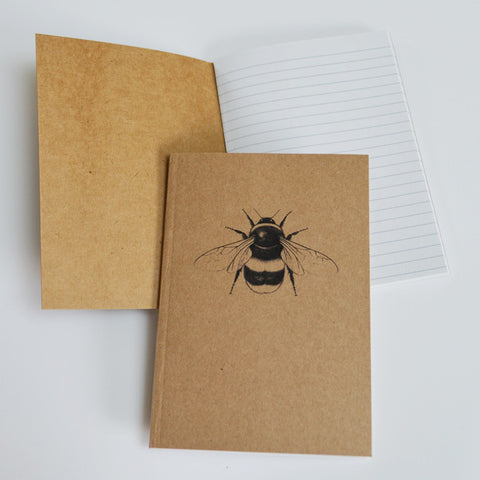 Bumblebee art recycled notebook