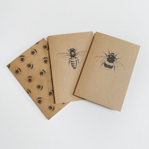 Bee lovers gift set - 3 illustrated A6 notebooks