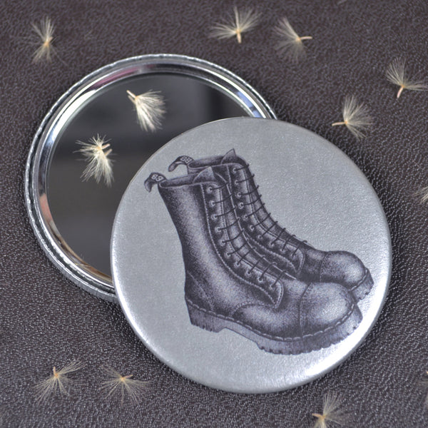 Black Boots compact pocket mirror