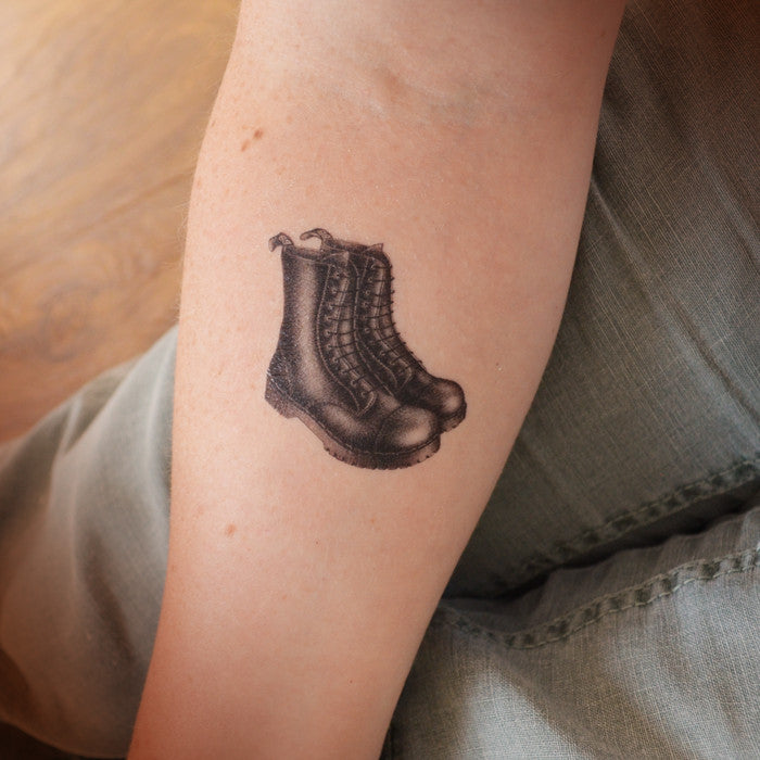 Black boots temporary tattoo
