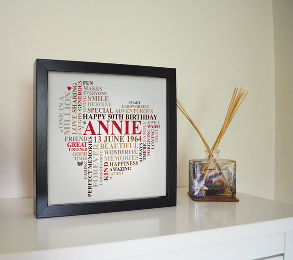 Framed custom word art heart.