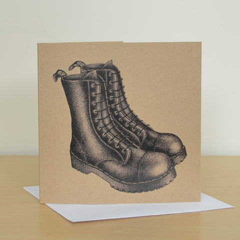 Black boots recycled greetings card. Blank inside.