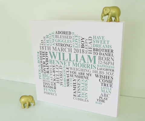 Elephant nursery canvas for baby boys.