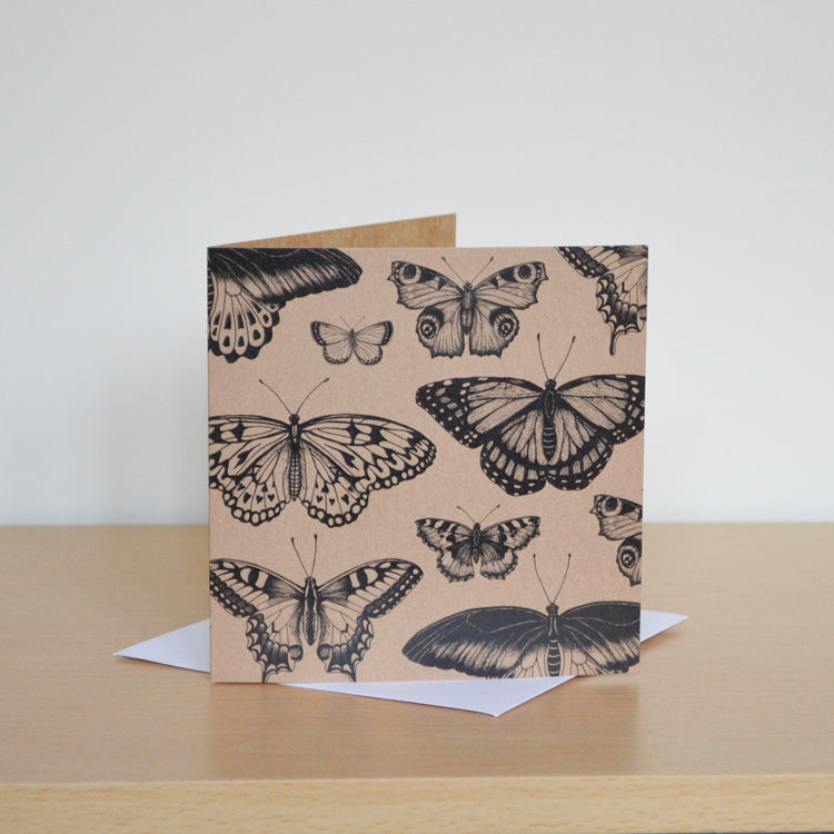 Butterfly collection - blank recycled greetings card.