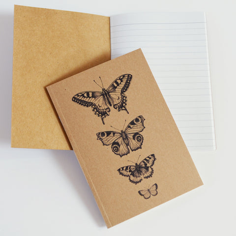 Butterfly specimen art - recycled A6 notebook