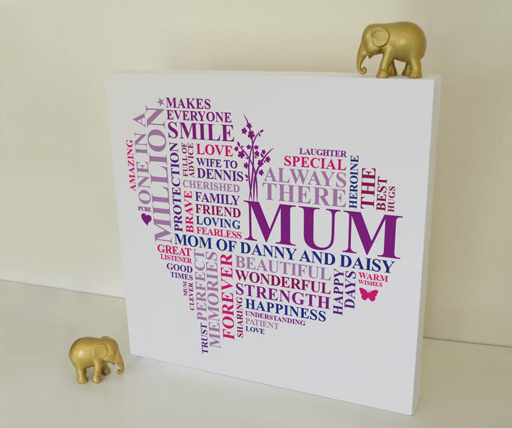 Personalised Mum canvas gift.