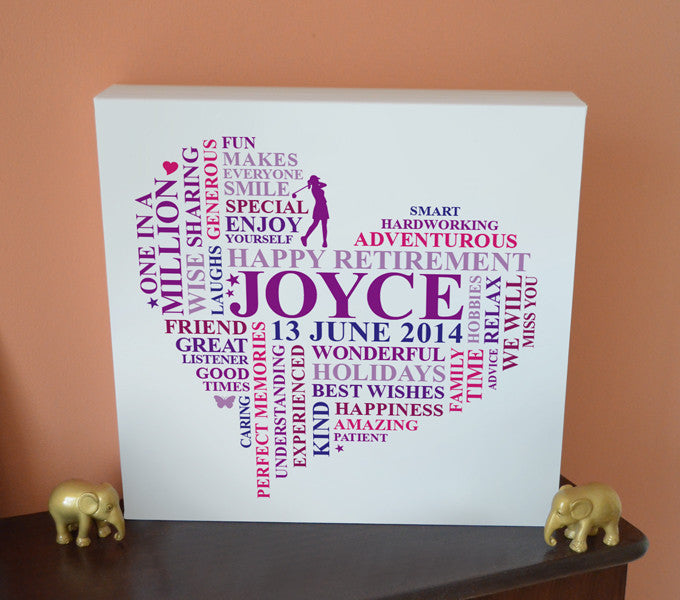 Happy retirement canvas gift for ladies.