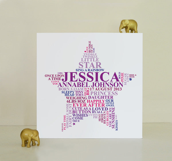 Canvas star gift for baby girls.