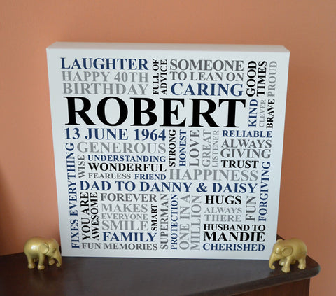 Personalised Men's Birthday Canvas.