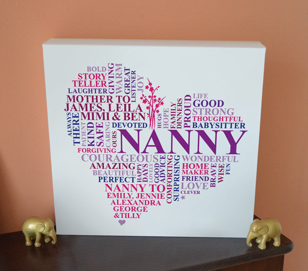 Personalised Nanny Heart canvas.