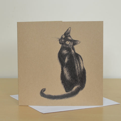 Black cat greetings card. Recycled, blank inside.