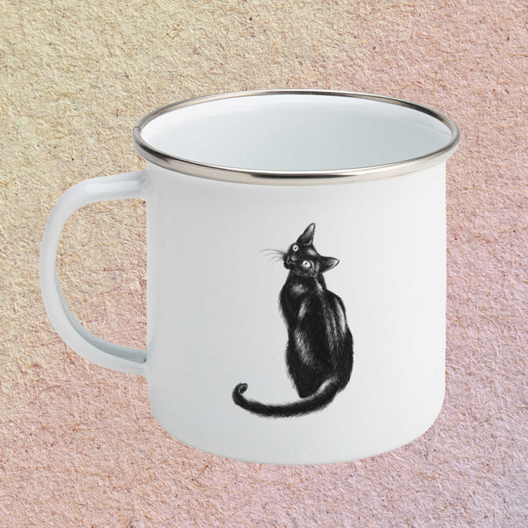 Black Cat Enamel Mug