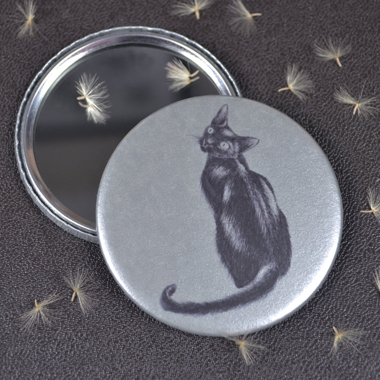 Black Cat compact pocket mirror
