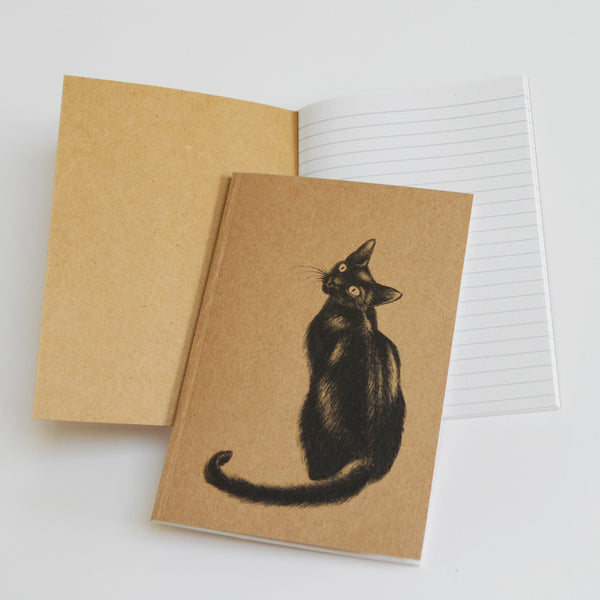 Black cat art recycled notebook