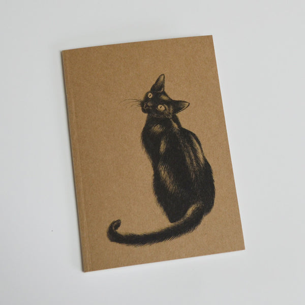 Black cat art eco-friendly A6 notebook