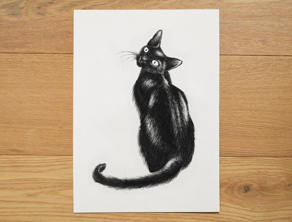 Lucky black cat art print