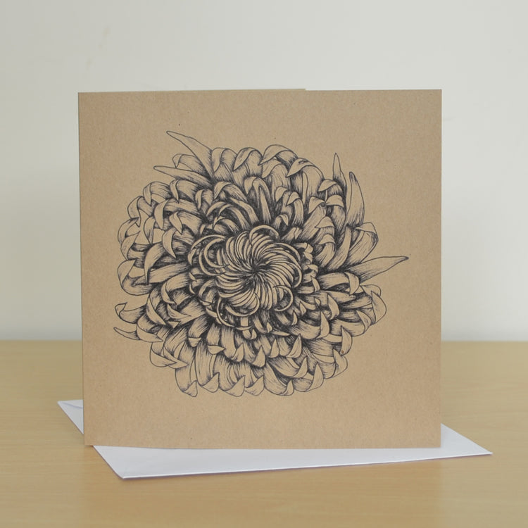 Chrysanthemum art greetings card.