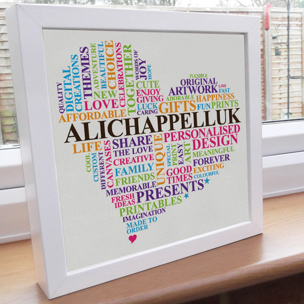 Framed custom word art heart