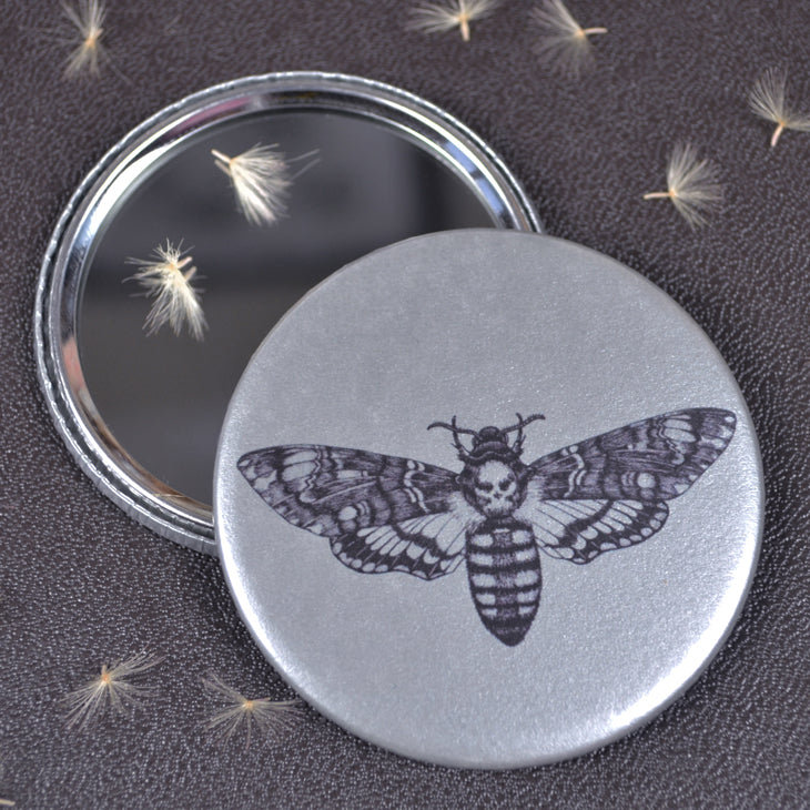 Deaths Head Hawk Moth compact pocket mirror