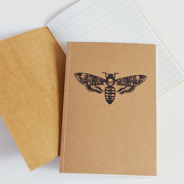 Death's Head Hawk Moth eco-friendly A6 notebook