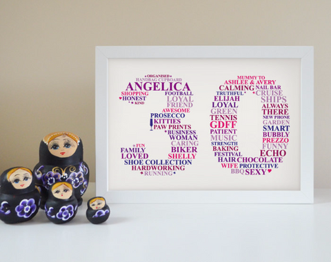 Personalised 30th Birthday framed gifts.