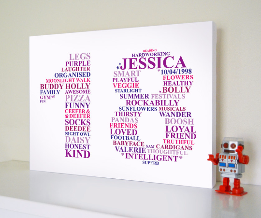 Happy 18th birthday gift - custom canvas word art design