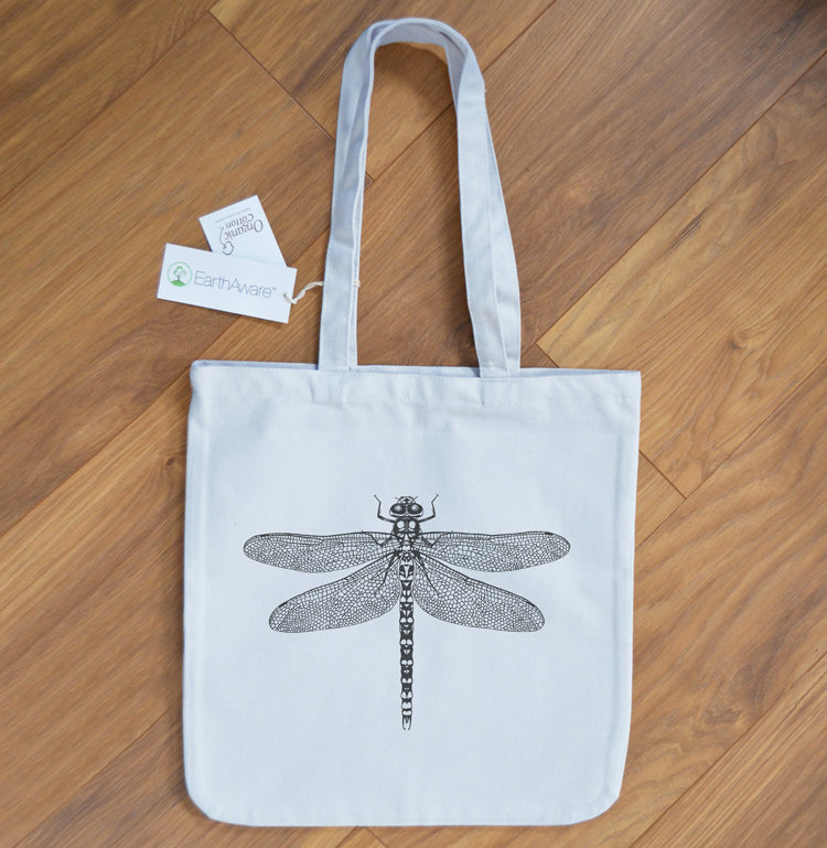 Dragonfly ethical cotton tote bag