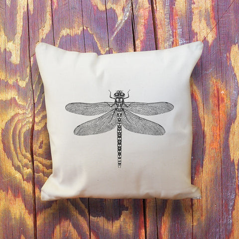 Dragonfly natural throw cushion