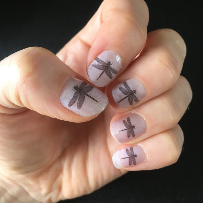 Set of 16 mini Dragonfly nail decal transfers.