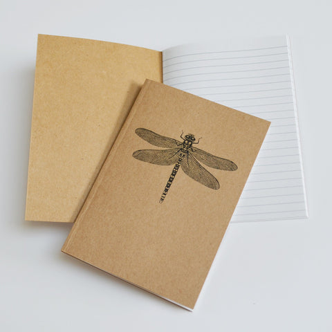 Dragonfly art recycled A6 notebook