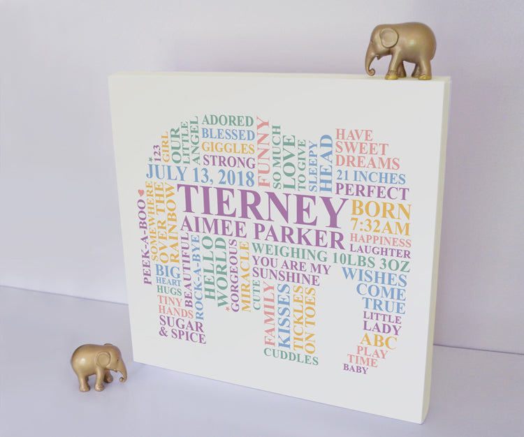 Elephant nursery canvas for baby girls.