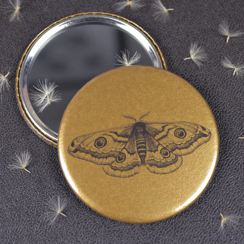 Emperor Moth compact pocket mirror