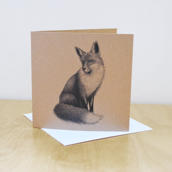 Fox illustration greetings card. Recycled, blank inside.