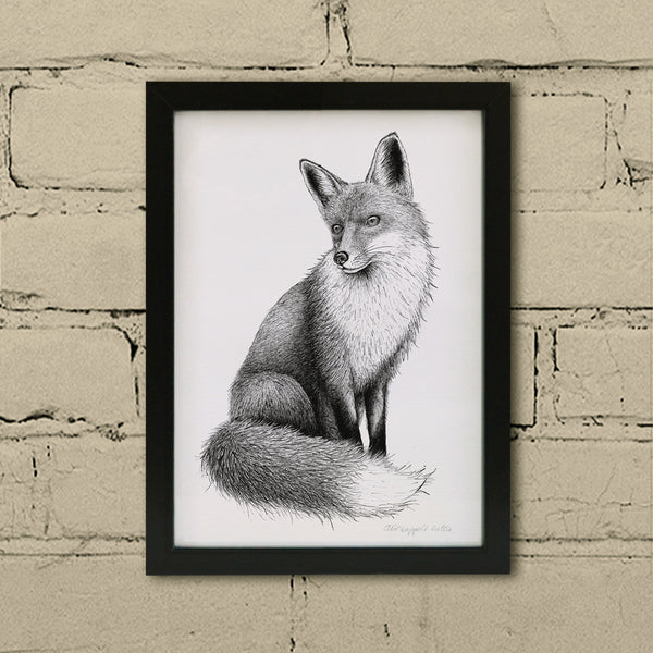 Fox art print in frame.