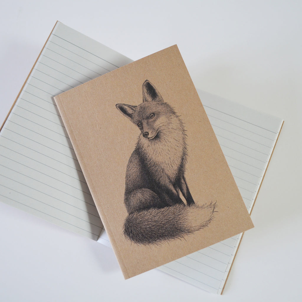 Fox illustration recycled A6 notebook