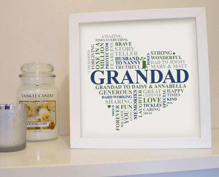 Framed personalised Grandad gift.