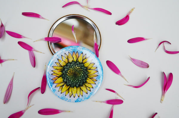 Summer sunflower compact mirror.